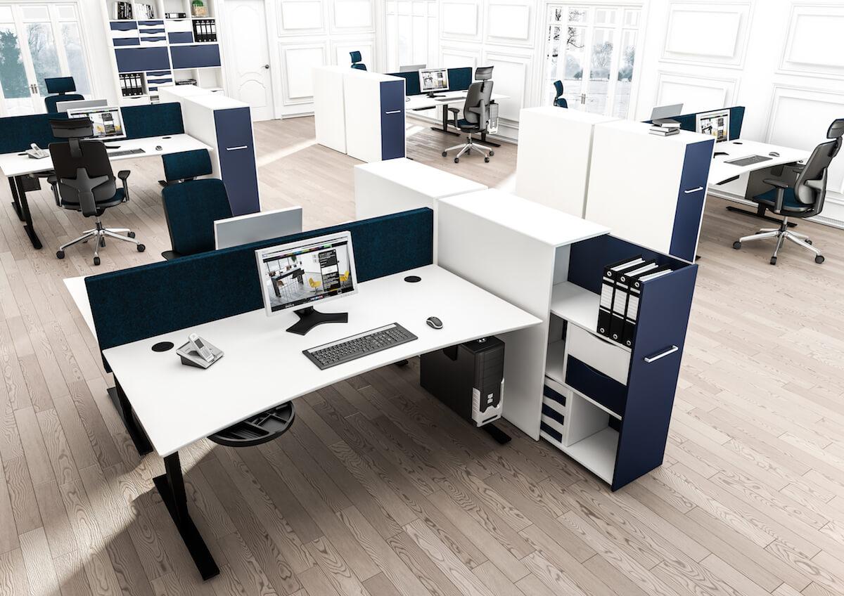 Dencon åbent Kontor Med Udtræksskab Og Hæve Sænkebord